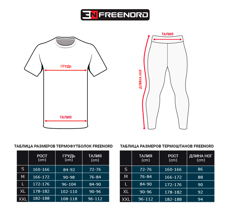 таблица размеров freenord