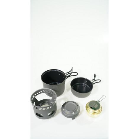 Кухонный набор с горелкой под сухое горючее 985ml с внутренним антипригарным покрытием