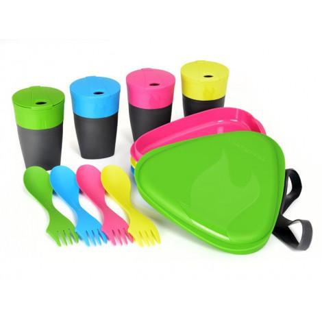 Набор посуды на 4 персоны Light My Fire DiningKit, зеленый/голубой/розовый/лайм