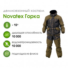 Костюм NOVATEX Горка Осень (-15), черный мультикам, микрофибра