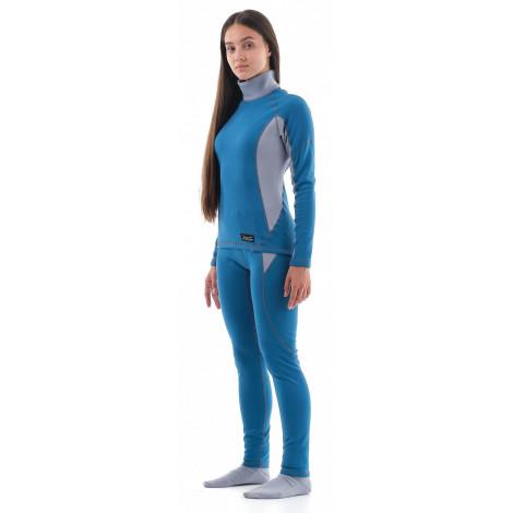 Термобелье Dragonfly зимнее с высоким воротом женское Blue-Grey