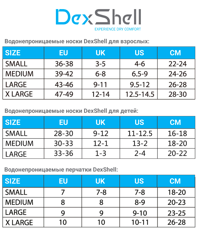 Таблица размеров DexShell